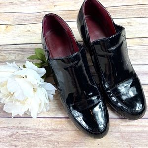Franco Sarto Black Patent Leather Ankle Boots 8.5